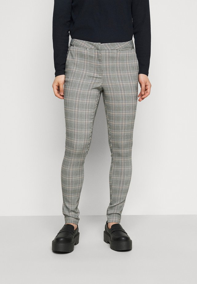 JESSICA CHECK BENGALINE - Trousers - grey