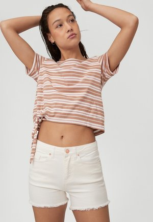KNOTTED  - Print T-shirt - brown or beige with pink