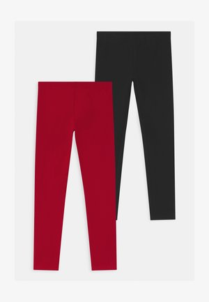 2 PACK - Leggings - Trousers - caviar/haute red