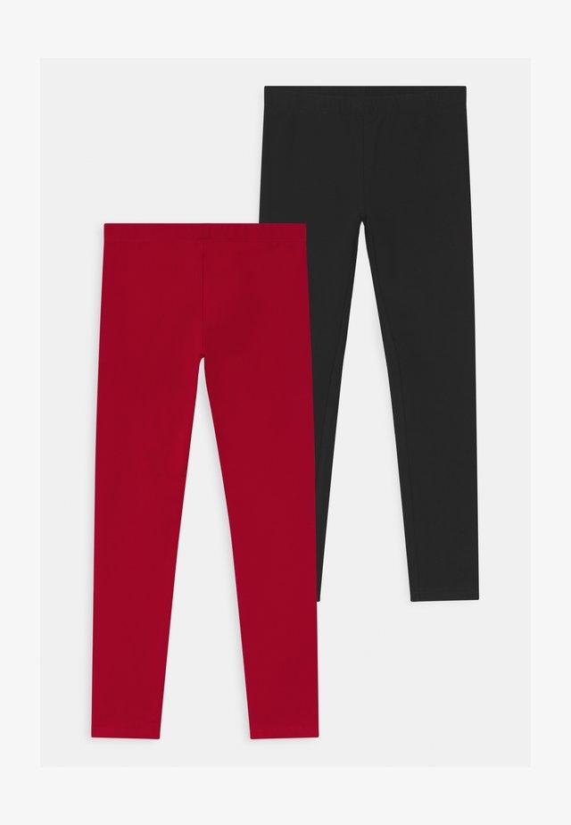 2 PACK - Leggings - caviar/haute red