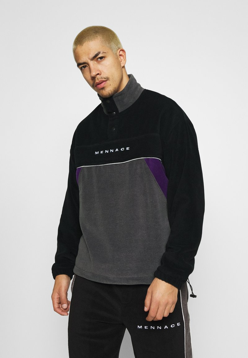 Mennace - CHEVRON PANEL POLAR FLEECE 1/4 ZIP SWEATSHIRT - Sweatshirt - black