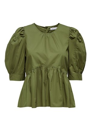 ONLKARLA S/S PUFF SLEEVE TOP WVN - Blouse - martini olive