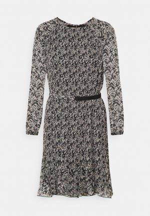 PLISSE DRESS - Kjole - black white mini floral print