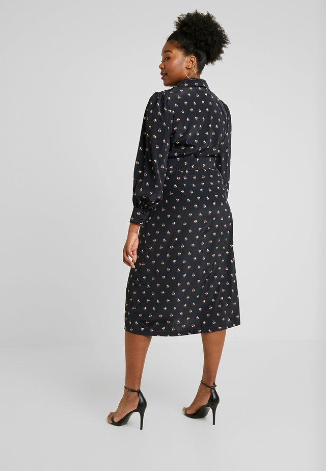 PRINTED BUTTON THROUGH DRESS - Skjortekjole - black