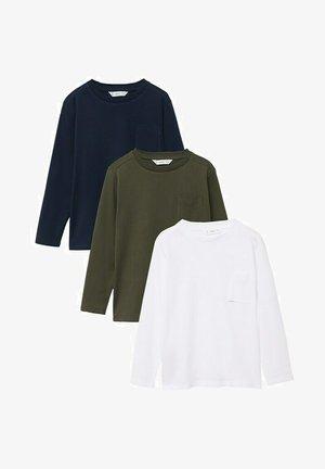 3 PACK  - Long sleeved top - kaki/blue/white