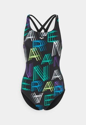 ALIDA CRISS CROSS BACK ONE PIECE - Swimsuit - black/multi
