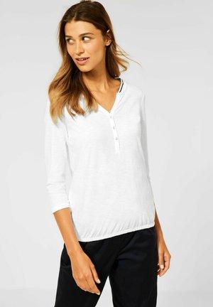 MIT RIPPKRAGEN - Long sleeved top - weiß