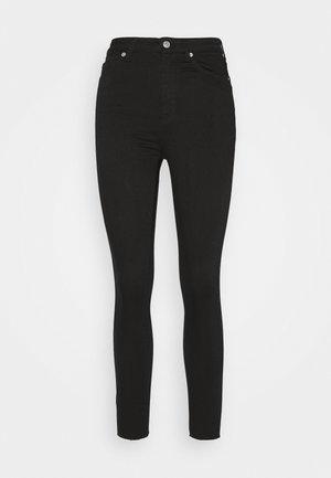 HIGH WAIST RAW HEM - Skinny džíny - black