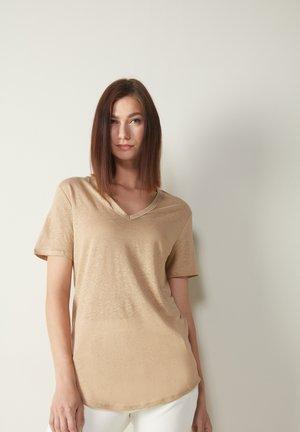 Basic T-shirt - hautfarben 375i  natural beige