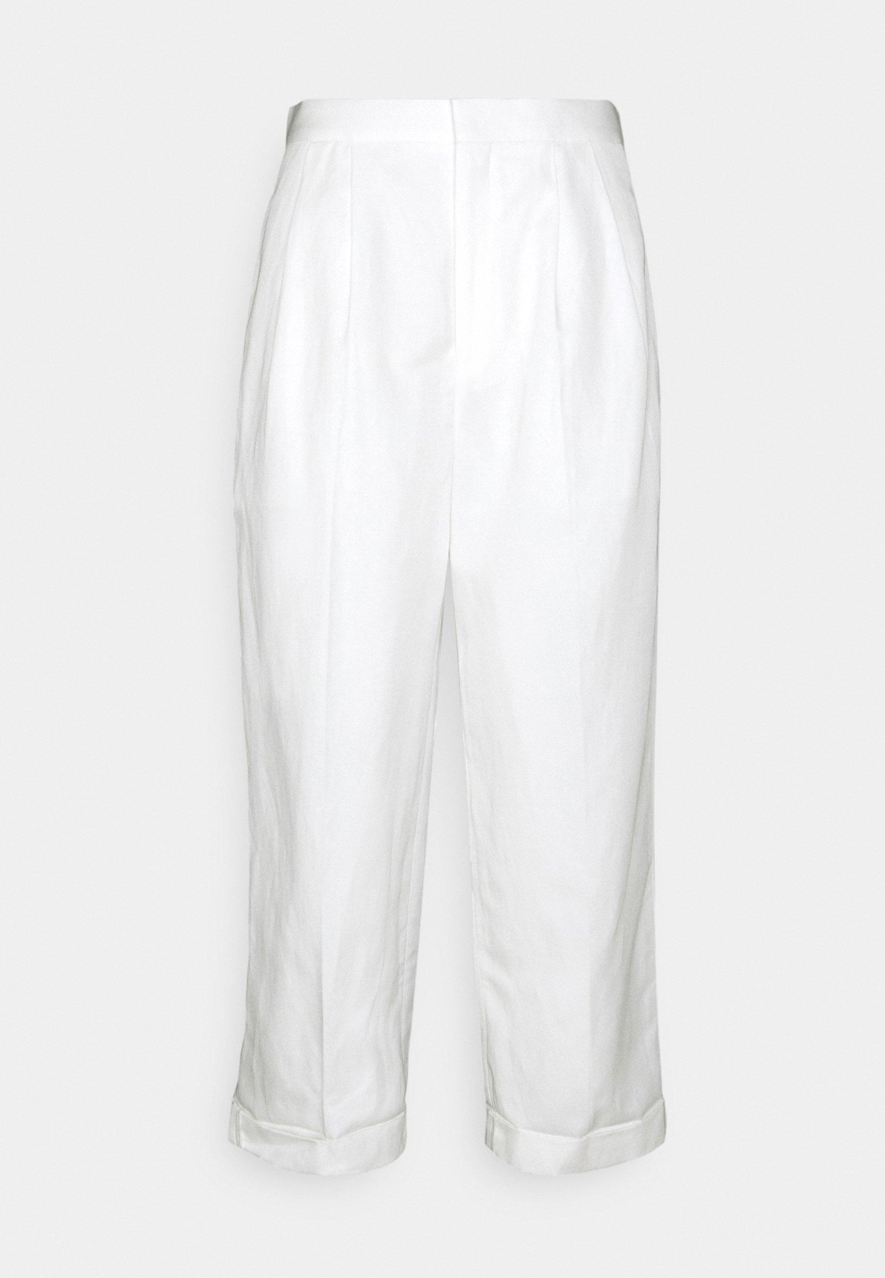 Femme TWO PLEATS WIDE LEG ROLLED UP HEM TROUSERS - Pantalon classique