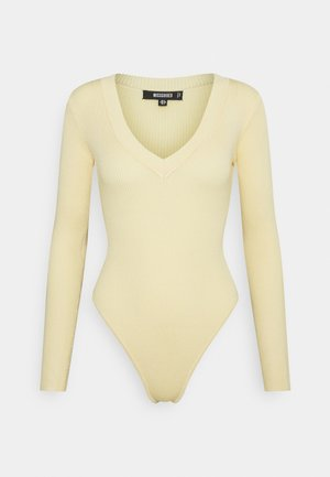 SKINNY V NECK - Long sleeved top - pale yellow
