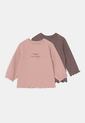 2 PACK - Long sleeved top - taupe/light pink