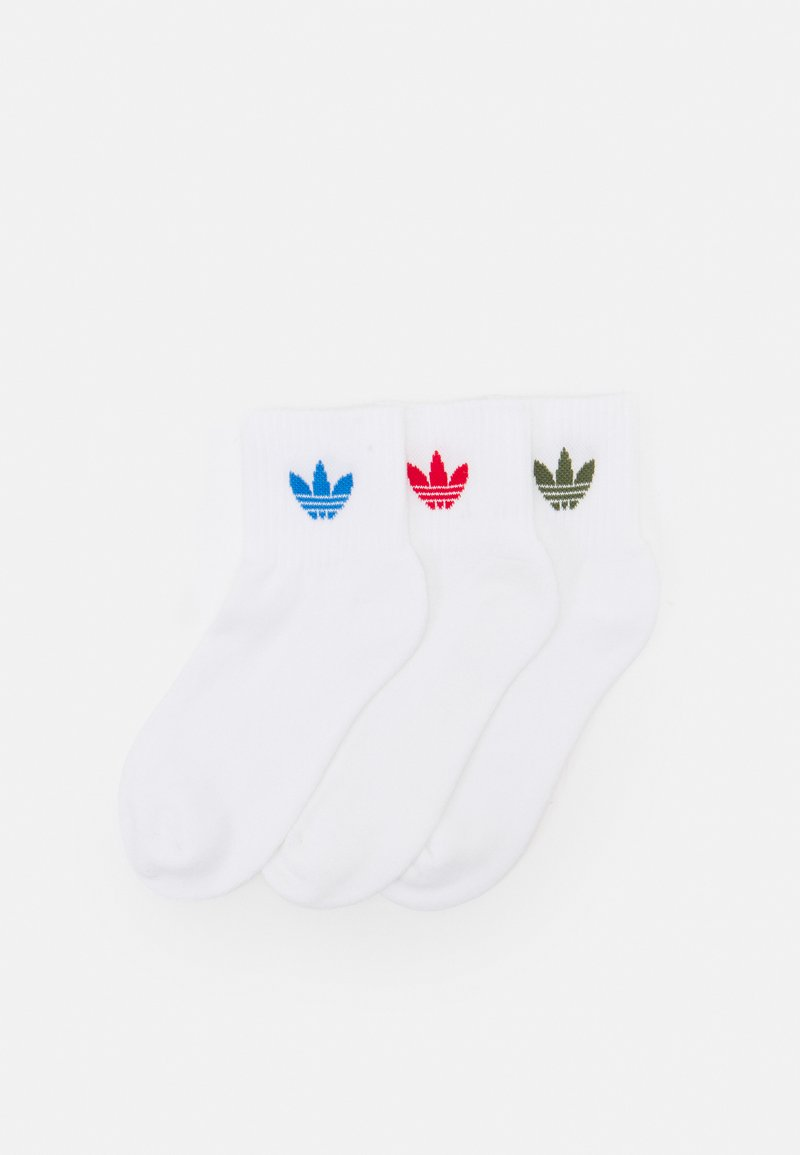 adidas Originals - ANKLE UNISEX 3 PACK  - Calze - white/scarlet