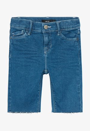 BIKER - Jeans Shorts - medium blue denim