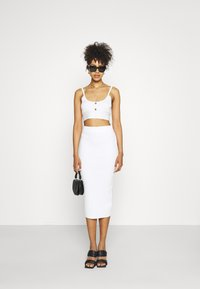 Missguided - BUTTON TIE BACK CAMI SKIRT SET - Top - white - 1