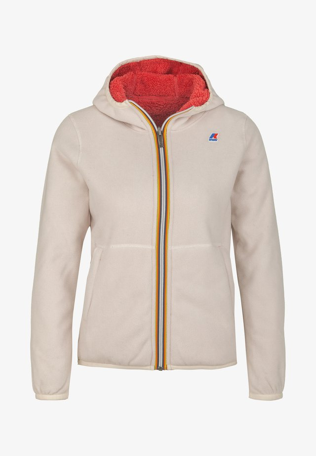 POLAR DOUBLE - Fleece jacket - white gardenia-red claret