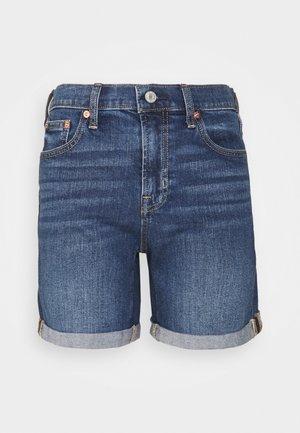 SPENCER ROLL - Denim shorts - dark-blue denim