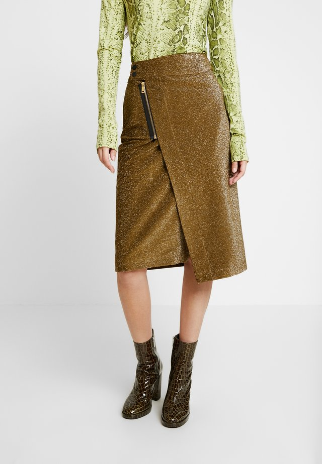 MIDI SKIRT WITH ZIPPER - Falda acampanada - olive