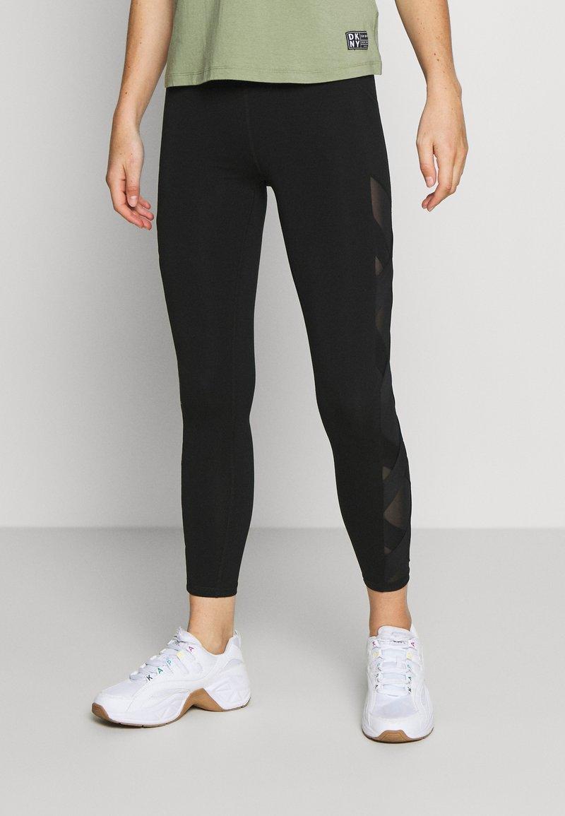DKNY - HIGH WAIST LEGGING CRISSCROSS SIDE BANDS - Leggings - black