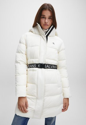 WAISTED LOGO LONG PUFFER - Winterjas - soft cream