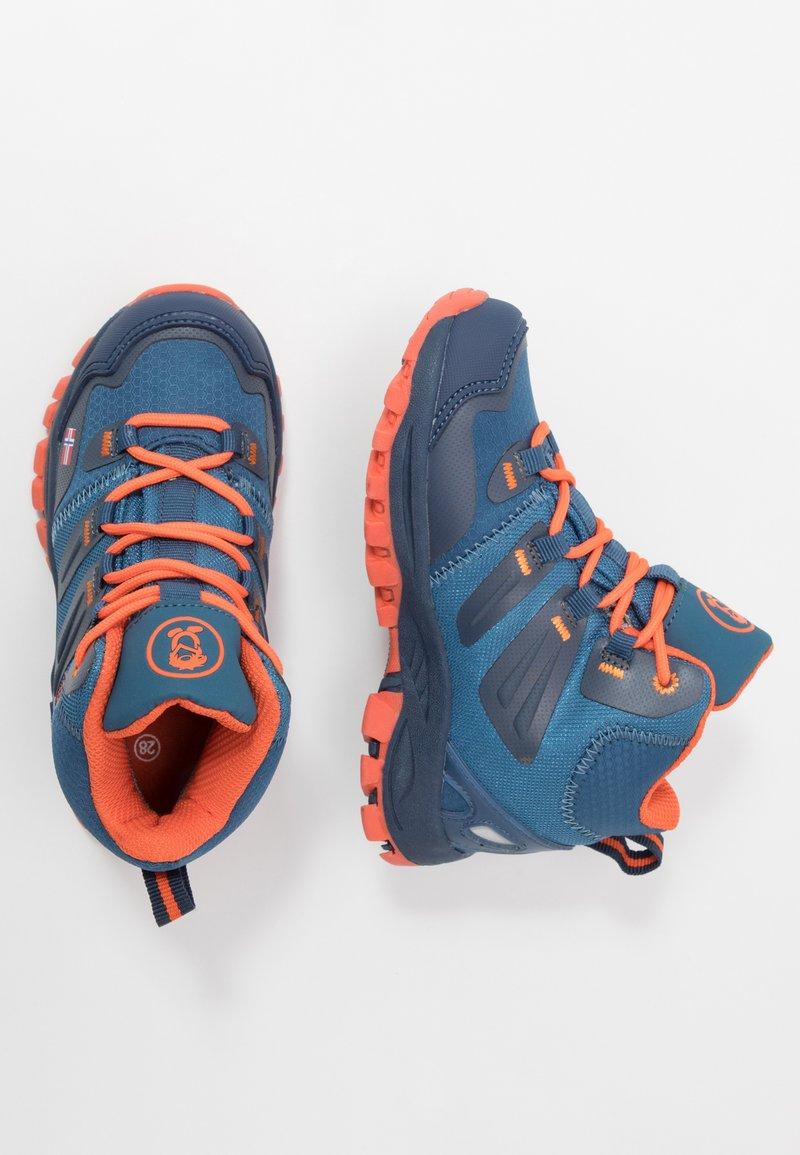 TrollKids - KIDS RONDANE HIKER MID - Hiking shoes - mystic blue/orange