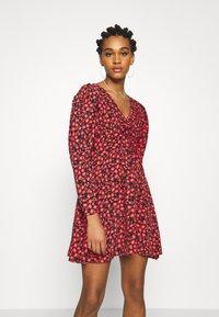 Topshop - V NECK SKATER DRESS - Day dress - red - 0