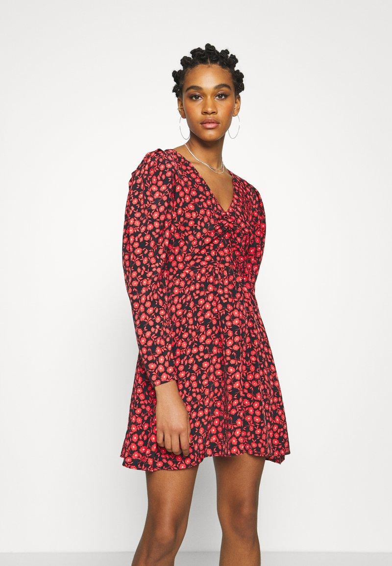 Topshop - V NECK SKATER DRESS - Day dress - red