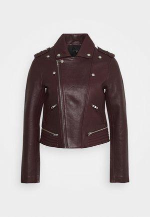 BASALTI - Leather jacket - bordeaux foncé