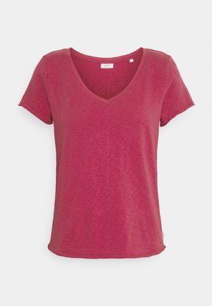 SHORTSLEEVED V NECK - T-shirts - rusty red