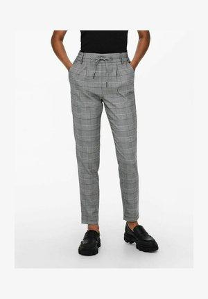 ONLPOPTRASH SOFT CHECK PANT - Spodnie materiałowe - off-white, taupe