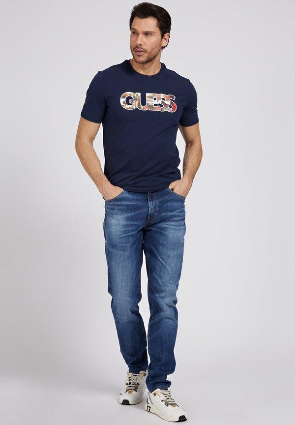 Guess PHOTOSHOW TEE - T-shirt z nadrukiem - blau/niebieski Odzież Męska KFBF