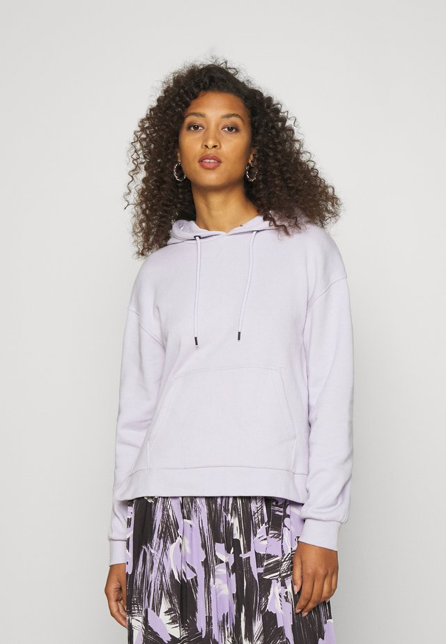 OVERSIZED HOODIE WITH POCKETS AND SIDE SLITS - Jersey con capucha - lilac