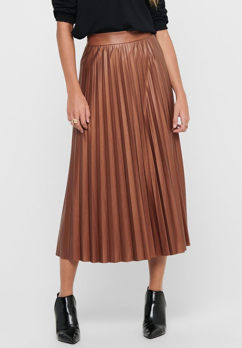 ONLY - PLISSEE - A-line skirt - ginger bread