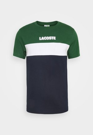 Print T-shirt - dark green/dark blue/white
