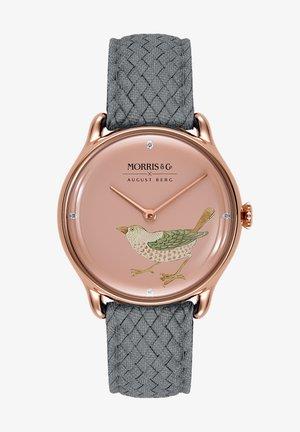 UHR MORRIS & CO ROSE GOLD BIRD GREY PERLON 30MM - Watch - primrose