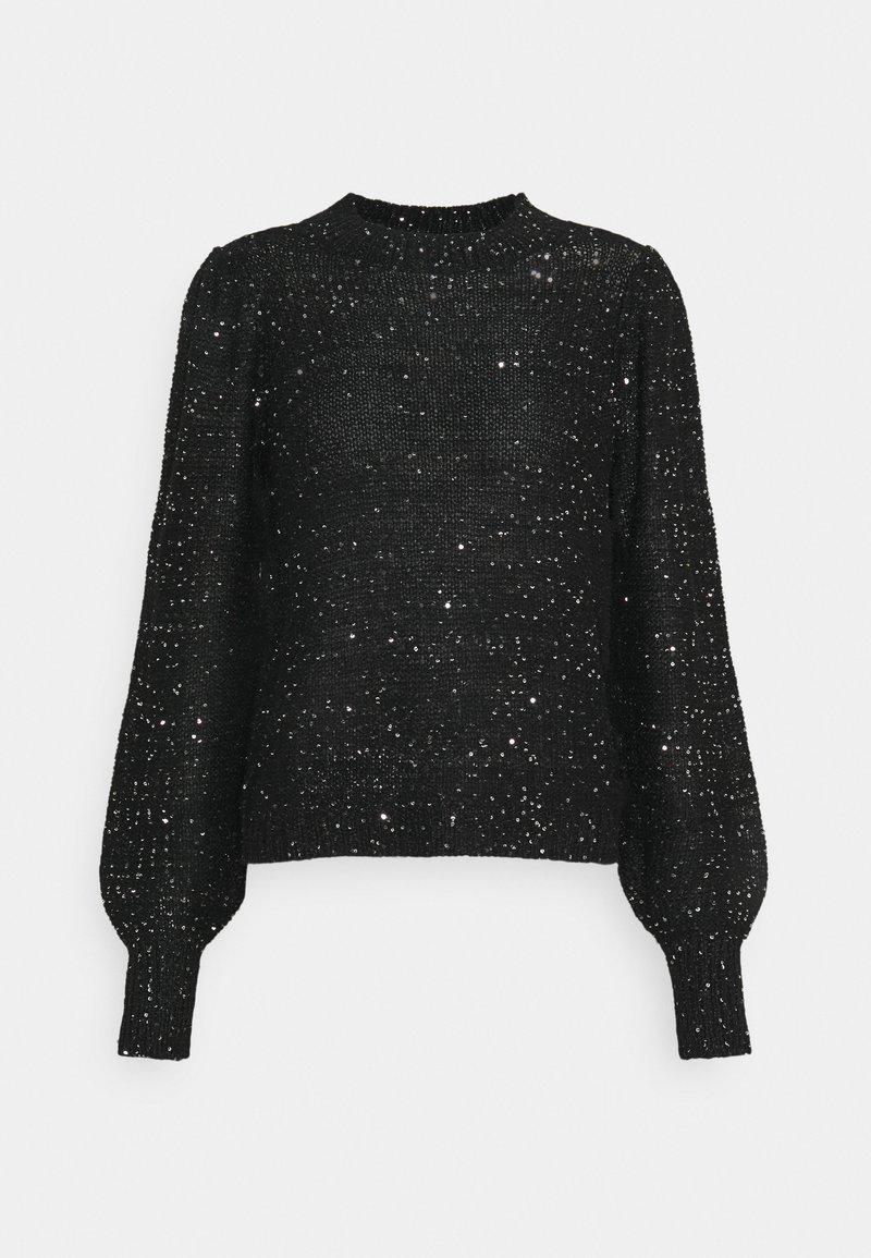 Vero Moda - VMLEILANI O-NECK - Strikkegenser - black/silver
