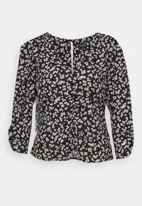 FLORAL V NECK BLOUSE - Long sleeved top - black