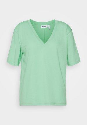 LAST V NECK - Jednoduché triko - darker mint