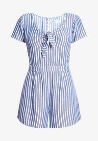 Hollister Co. - SHORT SLEEVE TIE FRONT ROMPER - Jumpsuit - blue/white - 3