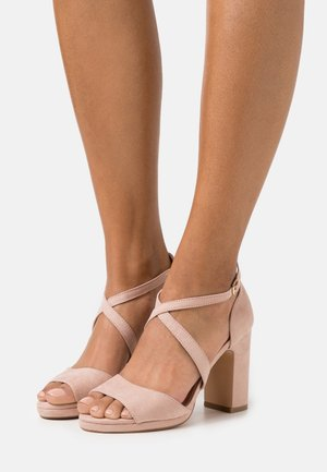 Sandalen met plateauzool - rose/gold