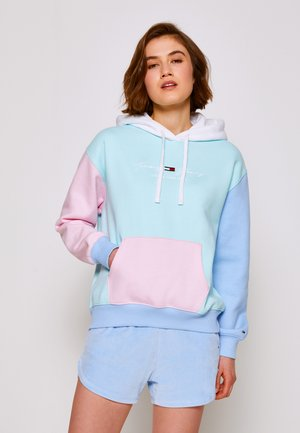 COLOR BLOCK HOODIE - Sweater - light powdery blue
