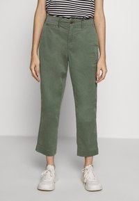 GAP Petite - HIGH RISE STRAIGHT - Trousers - olive - 0
