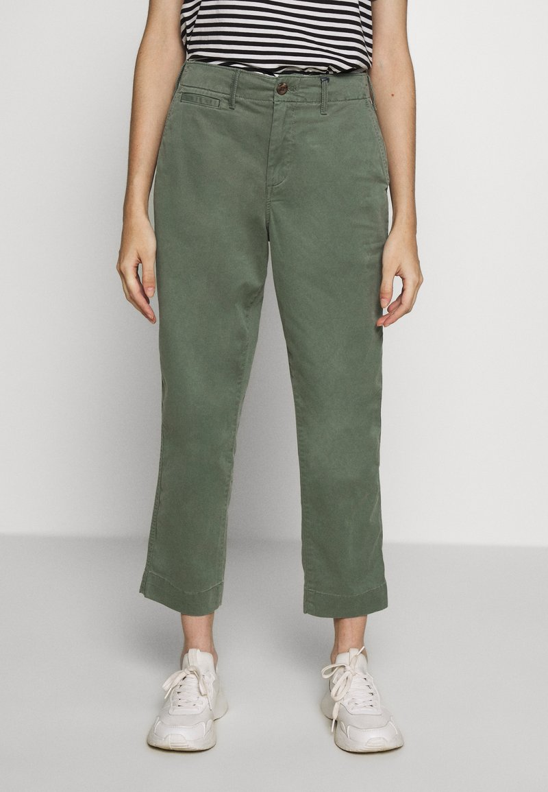 GAP Petite - HIGH RISE STRAIGHT - Trousers - olive