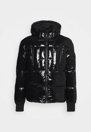 HOODED HIGH SHINE PUFFER UNISEX - Winterjas - black