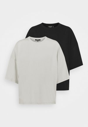 WITH TALL DROP SHOULDER OVERSIZED 2 PACK  - Basic T-shirt - grey/black