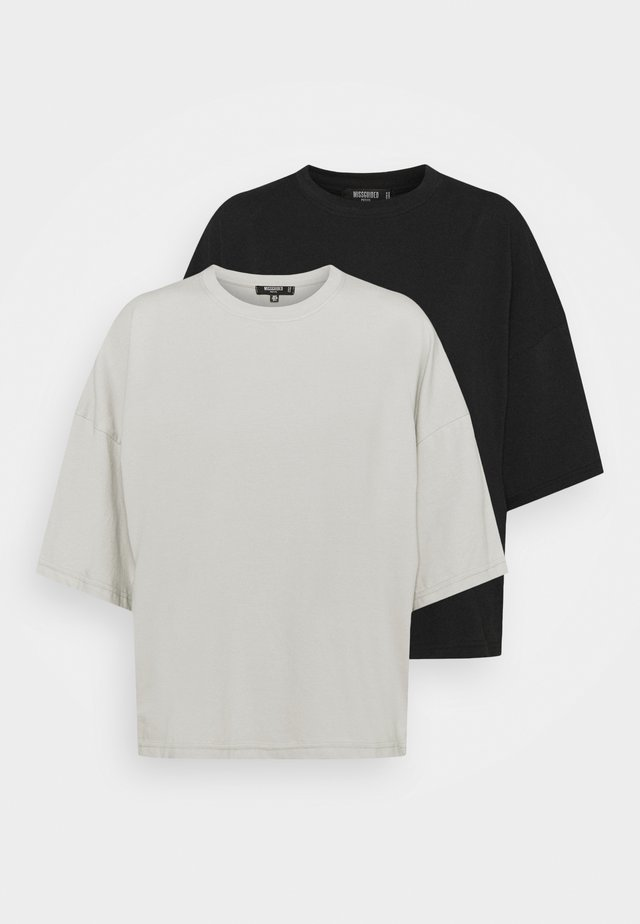 WITH TALL DROP SHOULDER OVERSIZED 2 PACK  - Jednoduché triko - grey/black