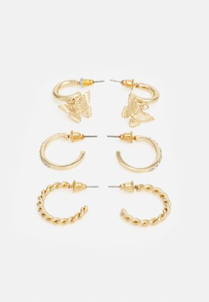 BUTTERFLY HOOP 3 PACK - Earrings - gold-coloured
