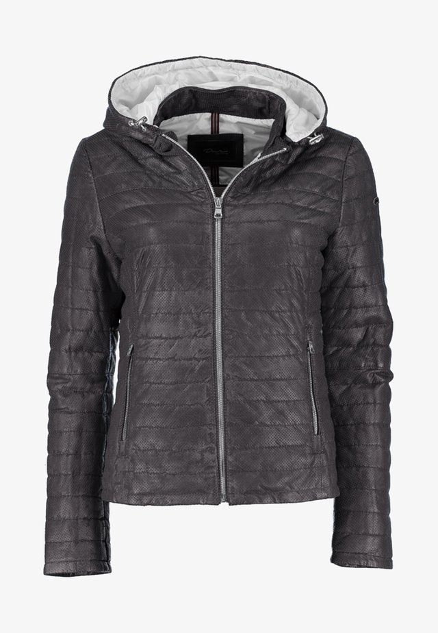 MIT KAPUZE - Leather jacket - black