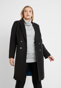 CAPSULE by Simply Be - DOUBLE BREAST SMART MILITARY COAT WITH SIDE BUCKLES - Classic coat - black - 0