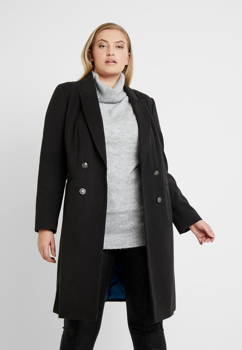 CAPSULE by Simply Be - DOUBLE BREAST SMART MILITARY COAT WITH SIDE BUCKLES - Classic coat - black